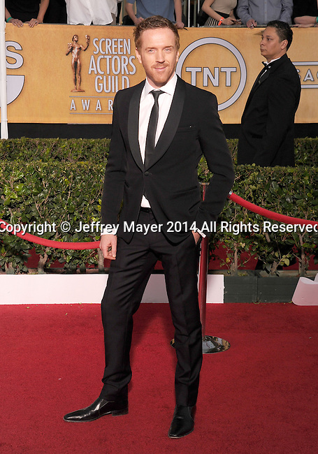 LOS ANGELES, CA- JANUARY 18: Actor Damian Lewis arrives at the 20th Annual Screen Actors Guild Awards at The Shrine Auditorium on January 18, 2014 in Los Angeles, California.