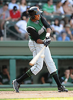 Outfielder Rafael Rodriguez (25) of the Augusta GreenJackets, Class A affiliate of the San Francisco Giants, in a game against the Greenville Drive on April 10, 2011, at Fluor Field at the West End in Greenville, S.C. Photo by Tom Priddy / Four Seam Images