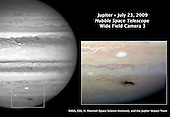 """Baltimore, MD - July 24, 2009 -- This Hubble picture, taken on July 23, 2009 is the sharpest visible-light picture taken of the impact feature. The observations were made with Hubble's new camera, the Wide Field Camera 3 (WFC3).  The combination of the Hubble data with mid-infrared images from ground-based telescopes will give astronomers an insight into changes of the vertical structure of Jupiter's atmosphere due to the impact. The expanding spot is twice the length of the United States.  First discovered by Australian amateur astronomer Anthony Wesley, the feature is the impact site and """"backsplash"""" of material from a small object that plunged into Jupiter's atmosphere and disintegrated.  The only other time in history such a feature has been seen on Jupiter was in 1994 during the collision of fragments from comet Shoemaker-Levy 9. The spot looks strikingly similar to comet Shoemaker-Levy 9's impact features. The details seen in the Hubble view shows lumpiness in the debris plume caused by turbulence in Jupiter's atmosphere.  The impactor is estimated to be the size of several football fields. The force of the explosion on Jupiter was thousands of times more powerful than the suspected comet or asteroid that exploded in June 1908 over the Tunguska River Valley in Siberia.  This is a natural color image of Jupiter as seen in visible light..Credit: NASA-ESA-STSci via CNP"""