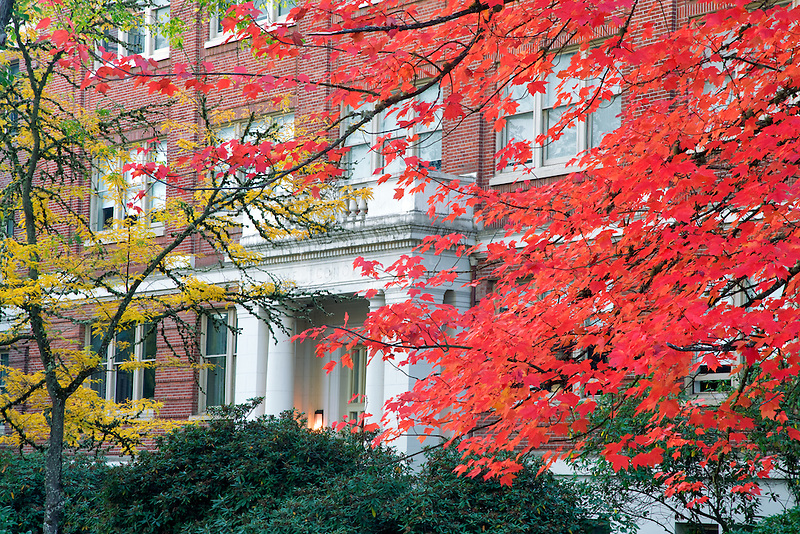 Home Economics building with fall color. Oregon State University.