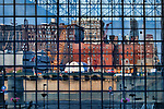 Reflection of a construction site and other buildings in the windows of the Jacob K. Javits Center, Manhattan, New York City.