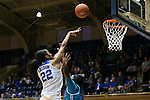 31 December 2015: Duke's Oderah Chidom (22) shoots over UNCW's Rebekah Banks (right). The Duke University Blue Devils hosted the University of North Carolina Wilmington Seahawks at Cameron Indoor Stadium in Durham, North Carolina in a 2015-16 NCAA Division I Women's Basketball game. Duke won the game 78-56.