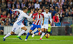 Juanfran of Club Atletico de Madrid battles for the ball with Mikel Villanueva of Malaga CF during their La Liga match between Club Atletico de Madrid and Malaga CF at the Estadio Vicente Calderón on 29 October 2016 in Madrid, Spain. Photo by Diego Gonzalez Souto / Power Sport Images