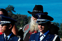 """Gizz"", a member of the Legacy Vets Motorcycle Club sits behind members of the San Diego State AFROTC Color Guard.  Brigadier General James Maitland Stewart, United States Air Force, a highly decorated WWII pilot was honored with a special plaque during at a dedication ceremony attended by his daughter and other family members.  Stewart, who would have been 100 years old this year was better known to most of the world as a highly acclaimed Hollywood actor."