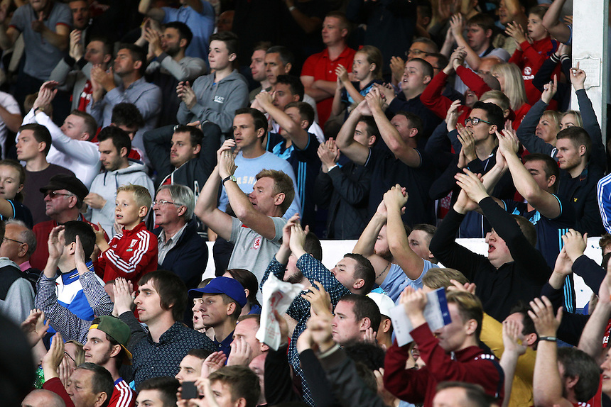 Middlesbrough fans applaud their side at the end of the game<br /> <br /> Photographer Rich Linley/CameraSport<br /> <br /> The Premier League - Everton v Middlesbrough - Saturday 17th September 2016 - Goodison Park - Liverpool<br /> <br /> World Copyright &copy; 2016 CameraSport. All rights reserved. 43 Linden Ave. Countesthorpe. Leicester. England. LE8 5PG - Tel: +44 (0) 116 277 4147 - admin@camerasport.com - www.camerasport.com