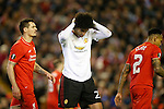 Marouane Fellaini of Manchester United dejected during the UEFA Europa League match at Anfield. Photo credit should read: Philip Oldham/Sportimage