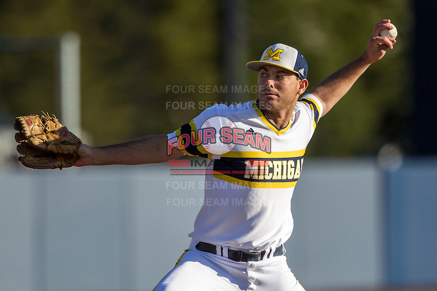 Michigan Wolverines pitcher William Tribucher (22) delivers a pitch to the plate against the Central Michigan Chippewas on March 29, 2016 at Ray Fisher Stadium in Ann Arbor, Michigan. Michigan defeated Central Michigan 9-7. (Andrew Woolley/Four Seam Images)