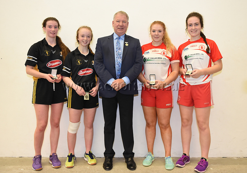 15/10/2017; All-Ireland Handball 60x30 Juvenile Finals; Garryhill Handball Club, Co Carlow;<br /> Girls Under 16 Doubles, Kilkennys Noelle Dowling and Roisin O&rsquo;Keeffe vs Caitlin Conway and Elizabeth McGarvey of Tyrone.<br /> GAA Handball President Joe Masterson with the players after the medal presentation.<br /> Photo Credit: actionshots.ie/Tommy Grealy