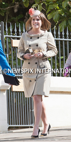 16.04.2017; Windsor,UK: KATE MIDDLETON 1ST ROYAL EASTER SERVICE <br /> The Duchess of Cambridge accompanied by Prince William,  joined members of the Royal Family for her first Easter Service at St George&rsquo;s Chapel, Windsor Castle.<br /> Royals in attendance included Queen Elizabeth, Prince Philip, Princess Eugenie, Princess Beatrice, Princess Anne, Prince Edward, Countess of Wessex, Peter Phillips, Autumn Phillips, Lady Lousie Windsor and Viscount Severn.<br /> Picture shows:P Princess Eugenie<br /> Mandatory Photo Credit: &copy;Francis Dias/NEWSPIX INTERNATIONAL<br /> <br /> IMMEDIATE CONFIRMATION OF USAGE REQUIRED:<br /> Newspix International, 31 Chinnery Hill, Bishop's Stortford, ENGLAND CM23 3PS<br /> Tel:+441279 324672  ; Fax: +441279656877<br /> Mobile:  07775681153<br /> e-mail: info@newspixinternational.co.uk<br /> Usage Implies Acceptance of OUr Terms &amp; Conditions<br /> Please refer to usage terms. All Fees Payable To Newspix International