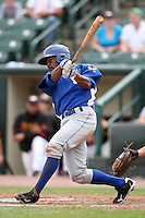 May 2, 2010:  Outfielder Fernando Perez of the Durham Bulls at bat during a game vs. the Rochester Red Wings at Frontier Field in Rochester, NY.  Rochester defeated Durham in extra innings by the score of 7-6.  Photo By Mike Janes/Four Seam Images