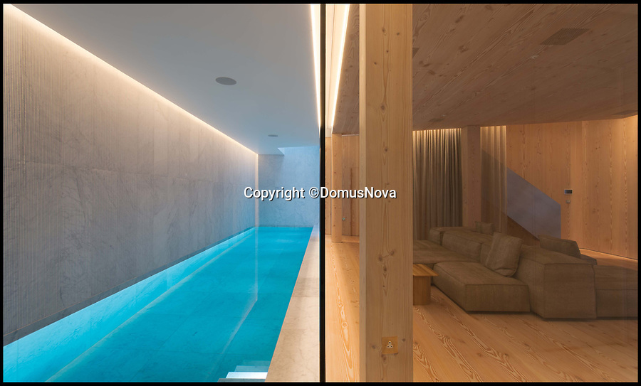 BNPS.co.uk (01202 558833)<br /> Pic: DomusNova/BNPS<br /> <br /> Heavenly Metal...underground swimming pool.<br /> <br /> A stunning copper-covered house built to replace a characterless bungalow the architect overlooked from his flat is now on the market for £5.95m.<br /> <br /> Architect Gianni Botsford's top floor flat in the neighbouring 19th century townhouse looked down on the uninspiring 1960s bungalow in London's affluent Notting Hill.<br /> <br /> He decided he wanted to make better use of the land and worked with the owner on an eight-year planning and building process to replace it with the new sculptural-looking house.<br /> <br /> There is more to the striking new three-bedroom home, now on the market with Domus Nova, than meets the eye as it has two subterranean levels with a swimming pool inside.