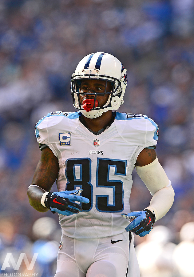 Sep 28, 2014; Indianapolis, IN, USA; Tennessee Titans wide receiver Nate Washington (85) against the Indianapolis Colts at Lucas Oil Stadium. Mandatory Credit: Andrew Weber-USA TODAY Sports