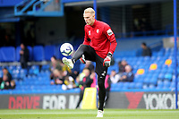 Watford goalkeeper, Pontus Dahberg, shows his skills with a football ahead of kick-off during Chelsea vs Watford, Premier League Football at Stamford Bridge on 5th May 2019