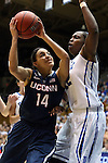 17 December 2013: UConn's Bria Hartley (14) and Duke's Chelsea Gray (12). The Duke University Blue Devils played the University of Connecticut Huskies at Cameron Indoor Stadium in Durham, North Carolina in a 2013-14 NCAA Division I Women's Basketball game. UConn won the game 83-61.