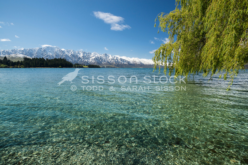 View across Lake Wakatipu, The Remarkables, Queenstown, New Zealand - stock photo, canvas, fine art print