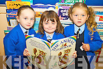 Abigail O'Shea, Alisha Kelliher and Jade Quilligan pictured on their first day of school at presentation primary, Tralee on Thursday.