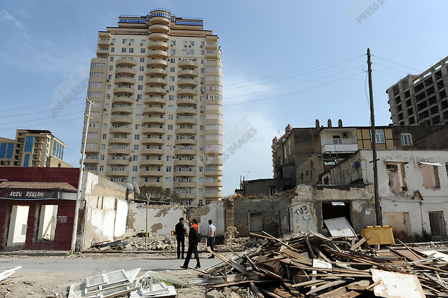Construction site in downtown Baku, much of which has either been restored or demolished to make way for modern high-rises, Azerbaijan, May 14, 2011