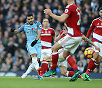 Sergio Aguero of Manchester City takes a shot on goal during the Premier League match at the Etihad Stadium, Manchester. Picture date: November 5th, 2016. Pic Simon Bellis/Sportimage