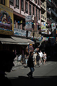 Tourists and Local Nepalese are seen in the main square of Thamel in capital Kathmandu, Nepal