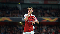 Mesut Özil of Arsenal celebrates his goal making it 4-0 during the UEFA Europa League match group between Arsenal and Vorskla Poltava at the Emirates Stadium, London, England on 20 September 2018. Photo by Andrew Aleks / PRiME Media Images.
