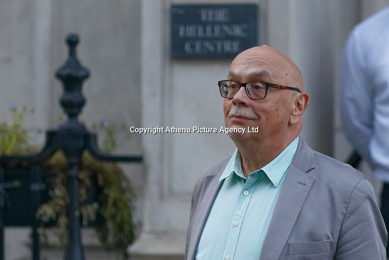Pictured: Syriza party MP Kostas Douzinas leaves the Hellenic Centre in London, UK. Monday 25 June 2018<br /> Re: Greek Prime Minister Alexis Tsipras is on a three day visit to London, UK.