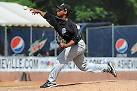 Savannah Sand Gnats pitcher Estarlin Morel #38 delivers a pitch during a game against the Asheville Tourists at McCormick Field on August 5, 2012 in Asheville, North Carolina. The Tourists defeated the Sand Gnats 5-4. (Tony Farlow/Four Seam Images).