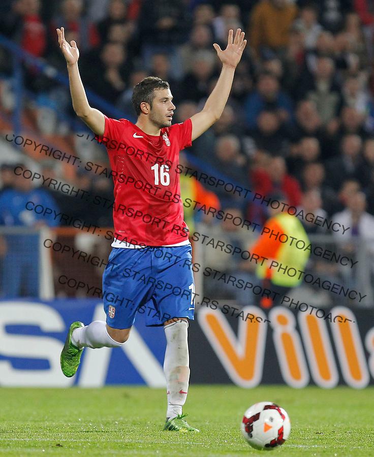 Fudbal Soccer<br /> World Cup 2014 qualifiers match<br /> Serbia v Macedonia<br /> Luka Milivojevic<br /> Jagodina, 15.10.2013.<br /> foto: Srdjan Stevanovic/Starsportphoto &copy;