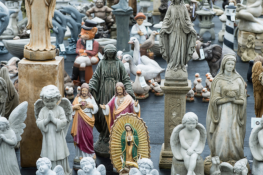 Outdoor garden statuary selection.