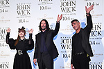 """(L-R) Kyary Pamyu Pamyu, Keanu Reeves and Chad Stahelski attend the Japan premiere of """"John Wick: Chapter 3 - Parabellum"""" on September 10 in Tokyo, Japan."""