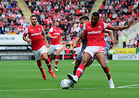 Lincoln City's Tyler Walker vies for possession with Rotherham United's Michael Ihiekwe<br /> <br /> Photographer Chris Vaughan/CameraSport<br /> <br /> The EFL Sky Bet Championship - Rotherham United v Lincoln City - Saturday 10th August 2019 - New York Stadium - Rotherham<br /> <br /> World Copyright © 2019 CameraSport. All rights reserved. 43 Linden Ave. Countesthorpe. Leicester. England. LE8 5PG - Tel: +44 (0) 116 277 4147 - admin@camerasport.com - www.camerasport.com