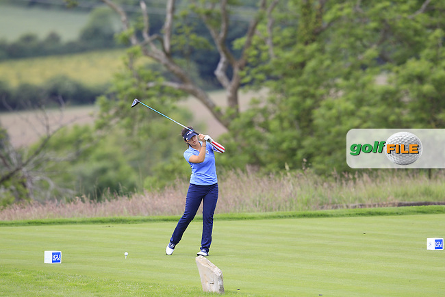 Andrea Lee on the 2nd tee during the Friday morning foursomes at the 2016 Curtis cup from Dun Laoghaire Golf Club, Ballyman Rd, Enniskerry, Co. Wicklow, Ireland. 10/06/2016.<br /> Picture Fran Caffrey / Golffile.ie<br /> <br /> All photo usage must carry mandatory copyright credit (&copy; Golffile | Fran Caffrey)