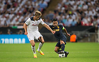 Radamel Falcao Garcia of Monaco turns Eric Dier of Tottenham Hotspur during the UEFA Champions League Group stage match between Tottenham Hotspur and Monaco at White Hart Lane, London, England on 14 September 2016. Photo by Andy Rowland.