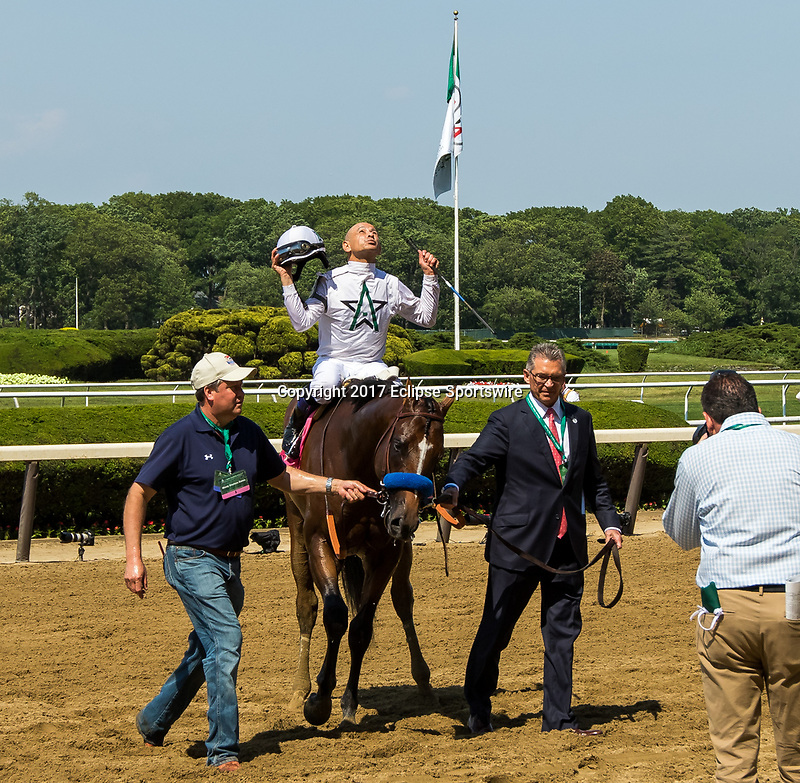 ELMONT, NY - JUNE 10: Mike Smith, aboard American Anthem #8, celebrates after winning the Woody Stephens Stakes on Belmont Stakes Day at Belmont Park on June 10, 2017 in Elmont, New York (Photo by Sue Kawczynski/Eclipse Sportswire/Getty Images)