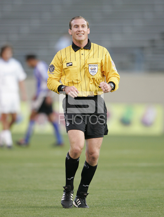 23 April 2005: Terry Vaughn, referee, in action during the game between Earthquakes/Wizards at Spartan Stadium in San Jose, California.   Earthquakes defeated Wizards, 3-2.  Credit: Michael Pimentel / ISI