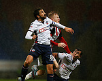 Mark Duffy of Sheffield Utd challenges Jem Karacan of Bolton Wanderers during the Championship match at the Macron Stadium, Bolton. Picture date 12th September 2017. Picture credit should read: Simon Bellis/Sportimage