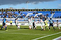 MARBELLA  - Voetbal, Club Brugge - FC Groningen, Trainingskamp , seizoen 2017-2018, 10-01-2018,  drukte voor het doel ban FC Groningen doelman Kevin Begois