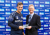 ICC World T20 Qualifier - GROUP B MATCH - SCOTLAND V UAE at Grange CC, Edinburgh - Scotland's George Munsey is awarded Man of the Match by Cricket Scotland Chair Tony Brian — credit @ICC/Donald MacLeod - 09.07.15 - 07702 319 738 -clanmacleod@btinternet.com - www.donald-macleod.com