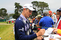 Justin Rose (ENG) signs autographs for fans at the 8th hole during Wednesday's Practice Day of the 112th US Open Championship at The Olympic Club, San Francisco,  California, 13th June 2012 (Photo Eoin Clarke/www.golffile.ie)