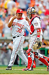 30 June 2005: Chad Cordero, all-star closing pitcher for the Washington Nationals, is congratulated by catcher Brian Schneider after closing out a game against the Pittsburgh Pirates. The Nationals defeated the Pirates 7-5 to sweep the 3-game series at RFK Stadium in Washington, DC.  Mandatory Photo Credit: Ed Wolfstein