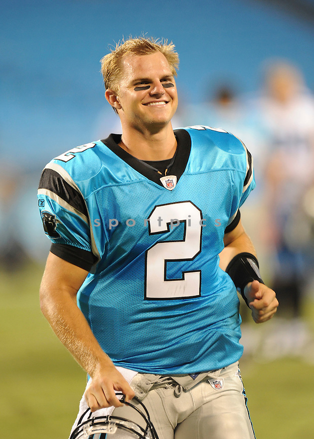 JIMMY CLAUSEN, of the Carolina Panthers, in action during the Panthersgame against the Tennessee Titans  at Bank of America Stadium in Charlotte, North Carolina on Saturday, August 28, 2010.   The Panthers  would defeat the Titans 15-7....