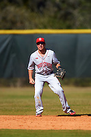 Ohio State Buckeyes second baseman Nick Sergakis (21) during a game against the Boston College Eagles on March 6, 2016 at North Charlotte Regional Park in Port Charlotte, Florida.  Boston College defeated Ohio State 6-2.  (Mike Janes/Four Seam Images)