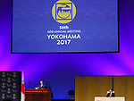 May 6, 2017, Yokohama, Japan -  Japanese Finance Minister Taro Aso (L) delivers an opening speech at the opening ceremony of the Asian Development Bank (ADB) annual meeting in Yokohama, suburban Tokyo on Saturday, May 6, 2017 while Japanese Crown Prince Naruhito listens to. ADB has a four-day session for its annual meeting to celebrate the 50th anniversary of the ADB.   (Photo by Yoshio Tsunoda/AFLO) LwX -ytd-