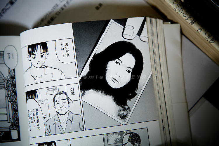 "Tokyo, October 25 2012 - At the office of NARKN, National Association for the Rescue of Japanese Kidnapped by North Korea. Manga (comics) by Moto Soichi adapted from the book of the son of Yaeko Taguchi, Koichiro Iizuka. The manga is untitled ""When My Mother was Kidnapped I was One ""."