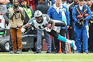 Landover, MD - October 14, 2018: Carolina Panthers wide receiver Torrey Smith (11) catches a pass during the  game between Carolina Panthers and Washington Redskins at FedEx Field in Landover, MD.   (Photo by Elliott Brown/Media Images International)