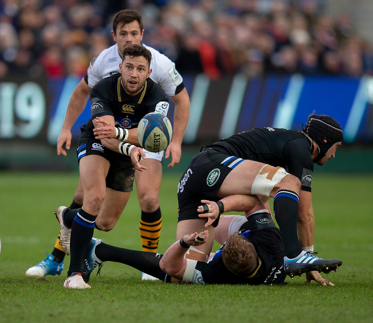 Bath Rugby's Max Green in action during todays match<br /> <br /> <br /> Photographer Bob Bradford/CameraSport<br /> <br /> European Rugby Heineken Champions Cup Pool 1 - Bath Rugby v Wasps - Saturday 12th January 2019 - The Recreation Ground - Bath<br /> <br /> World Copyright © 2019 CameraSport. All rights reserved. 43 Linden Ave. Countesthorpe. Leicester. England. LE8 5PG - Tel: +44 (0) 116 277 4147 - admin@camerasport.com - www.camerasport.com