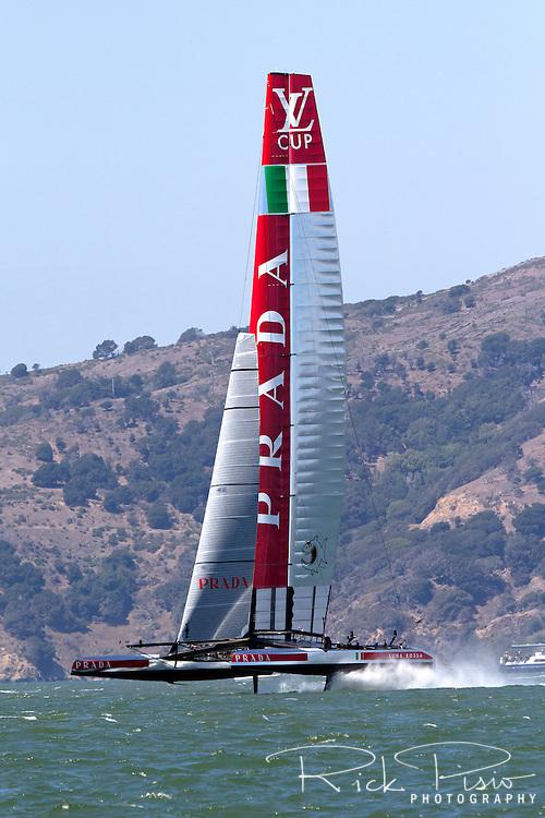 The Luna Rossa Challenge catamaran representing the Circolo della Vela Sicilia in Italy sails on San Francisco Bay during the 2013 Americas Cup competition.