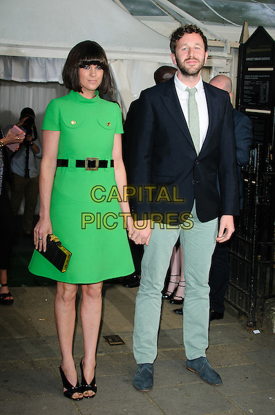 Dawn Porter and Chris O'Dowd.Women Of The Year 2012 - Glamour Awards, Berkeley Square, London, England..29th May 2012.full length green dress black belt clutch bag black suit jacket grey gray trousers married husband wife beard facial hair .CAP/CJ.©Chris Joseph/Capital Pictures.