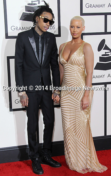Pictured: Amber Rose, Wiz Khalifa<br /> Mandatory Credit &copy; Frederick Taylor/Broadimage<br /> 56th Annual Grammy Awards - Red Carpet<br /> <br /> 1/26/14, Los Angeles, California, United States of America<br /> <br /> Broadimage Newswire<br /> Los Angeles 1+  (310) 301-1027<br /> New York      1+  (646) 827-9134<br /> sales@broadimage.com<br /> http://www.broadimage.com