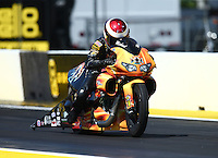 Mar 20, 2016; Gainesville, FL, USA; NHRA pro stock motorcycle rider Michael Ray during the Gatornationals at Auto Plus Raceway at Gainesville. Mandatory Credit: Mark J. Rebilas-USA TODAY Sports