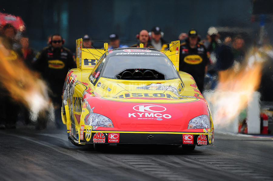 Sept. 16, 2011; Concord, NC, USA: NHRA funny car driver Paul Lee during qualifying for the O'Reilly Auto Parts Nationals at zMax Dragway. Mandatory Credit: Mark J. Rebilas-US PRESSWIRE
